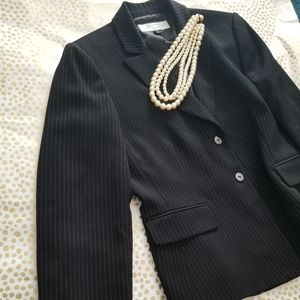Tahari Pinstripe Two-Button Power Suit